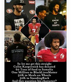 Colin Kaepernick has donated food and millions of dollars - and they question his character Taking A Knee, And So It Begins, Colin Kaepernick, Black History Facts, Black Pride, Faith In Humanity, African American History, Black Power, Social Issues