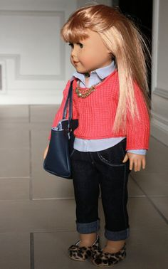American Girl Doll Clothes, Fits 18 inch Dolls,  Coral sweater, Grey Dot Shirt, Boyfriend Jeans, Gold Necklace and Navy Bag