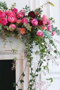 Floral spray for wedding decor Floral Centerpieces, Floral Arrangements, Wedding Mantle, Floral Wedding, Wedding Flowers, Rose Cottage, Flower Designs, Beautiful Flowers, Floral Design