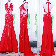 Affordable Designer Red Backless Halter Wedding Evening Ball Gowns 2013 SKU-122592