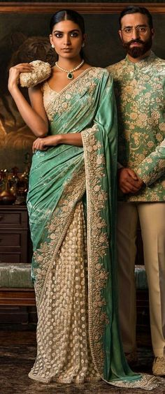 Couple Outfit indian Handsome Indian couple with matching clothes. Handsome Indian couple with matching clothes. Red Lehenga, Lehenga Choli, Sabyasachi Sarees, Green Saree, Bridal Lehenga, Traditional Fashion, Traditional Dresses, Indian Attire, Indian Wear
