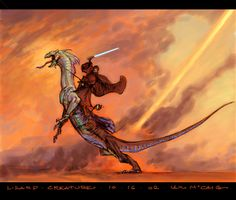 An Iain McCaig piece. Apparently created to flesh out the look of the characters and scenes from Star Wars (young Obi Wan on his incredible steed). Star Wars Concept Art, Star Wars Fan Art, Star Wars Rpg, Star Wars Rebels, Star Wars Characters Pictures, Disney Star Wars, Illustrations, Obi Wan, Star Wars Episodes
