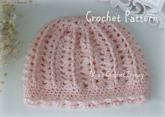 Pink Baby Hat Crochet Pattern, Beginner Skill Level, Size 3-6 Months, Easy to Make, Instant PDF Download