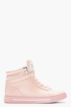 MARC BY MARC JACOBS Blush Pink Leather Cute Kicks High-Top Sneakers