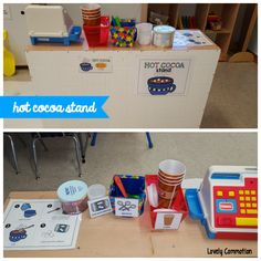 Enchance your winter pretend play center by adding a hot cocoa stand!