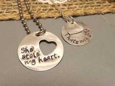 Hand Stamped Sterling Silver His and Her Necklace Set- She Stole My Heart, That's My Job, Humorous Jewelry, Military Couple, Deployment. $53.00, via Etsy.
