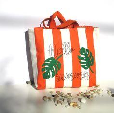 Blue Gold Print Cactus White Pom Pom Cotton Beach Large Hand Bag Boho Summer Greek Accessory