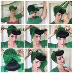 Vintage Hairstyles Curls Pin up hair 1940s Hairstyles, Scarf Hairstyles, Wedding Hairstyles, Updos Hairstyle, Easy Vintage Hairstyles, Pinup, Natural Hair Styles, Short Hair Styles, Retro Updo