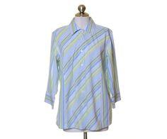 Talbots Green & Blue Diagonal Striped Button Down 3/4 Sleeve Shirt Size 12W #Talbots #ButtonDownShirt #Casual
