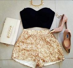 Sparkly gold shorts.