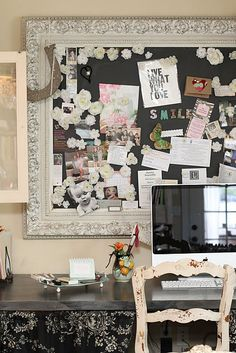 This craft/office space is adorable!! Full of cute organizing idea for crafts and kid stuff!!