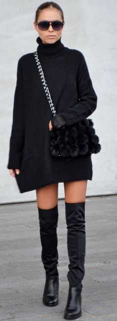 Maria Kragmann All Everything Black And Simple Fall Street Style Inspo Source Winter Fashion 2015, Autumn Fashion, All Black Fashion, Trendy Fashion, Street Chic, Street Style, Moda Zara, City Outfits, Cozy Winter Outfits