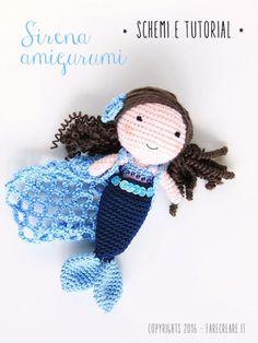 Sirena amigurumi con schema in italiano.