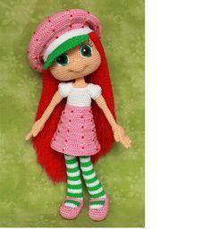 Boneca turma da moranguinho <br> <br>tem 30cm de comprimento, feita em crochê com linha 100% algodão e enchimento acrílico.