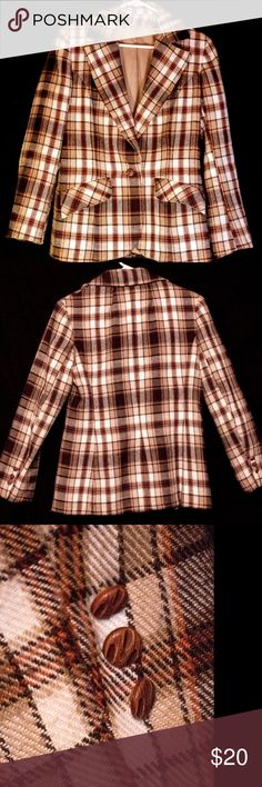 Coat, Blazer,Retro,Plaid, Jackets, Business Casual Retro, plaid Blazer. Its fits like a Small. Super cute for Fall Weather Jackets & Coats Blazers