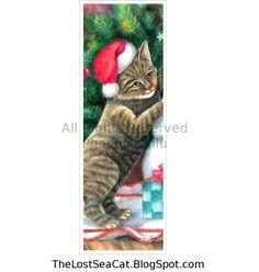 Christmas Brown Tabby Cat Art Bookmark From Original Painting