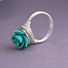 Emerald Green Rose Ring Sterling Silver Flower by georgiedesigns