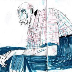 Day 167, an old man in the subway. День 167, дед в метро #365sketchchallenge #365vikasemykina #drawingeveryday365 #everydayidraw #coloredpencils #drawingpeople #365sketch2017