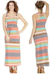 Womens Racerback Maxi Dress in Soft Print Stretch Jersey