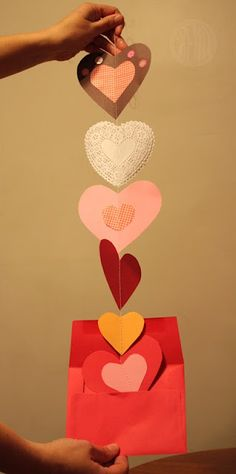 Valentine hearts of all kinds sewn together... fun idea for mailing to grandparents.