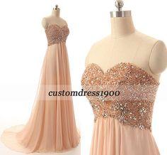A-line bridesmaid dress,sweetheart long bridesmaid dress,handmade beading chiffon prom dress/wedding party dress/formal women evening dress
