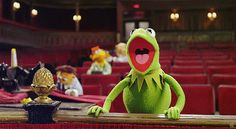 Kermit in the Muppet Theater.