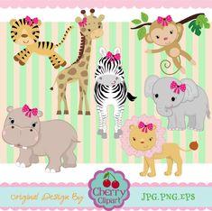 Girls Jungle Animals Digital Clipart Set 02 by Cherryclipart