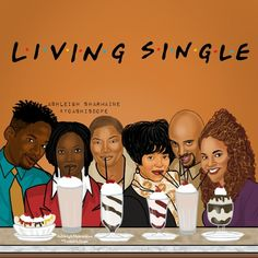 """Living Single"" By Ashleigh Sharmaine Black Love Art, Black Girl Art, My Black Is Beautiful, Black Girls Rock, Black Girl Magic, Art Girl, Black Tv, Black Cartoon Characters, Black Girl Cartoon"