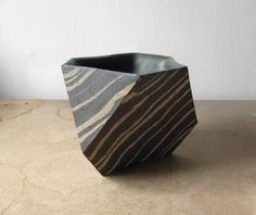 Dark Brown & Speckled Hexagonal Planter - hand made from slabs of clay that have been marbled.  Cody Hoyt, Brooklyn.