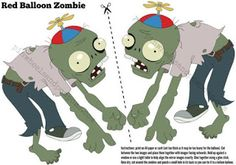 A cute decoration for your Plants vs Zombies party. Can be used as a take home party favour as well if you make one for each child. Print out Zombie Party Games, Zombie Themed Party, Zombie Birthday Parties, Nerf Party, 5th Birthday, Party Party, Birthday Ideas, Floating Balloons, Helium Balloons
