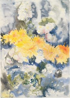 """reumar: """" Perfectly Chaotic Yellow and Blue / Charles Demuth / 1915 / Watercolor on paper """""""