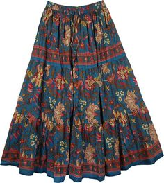 Blumine Floral Print Cotton Long Skirt TLB > Printed Cotton Long Skirt Cotton Blue Print Long Swirly Skirt - A well bodied floral gypsy style clothing cotton skirt that can`t go wrong if you love this style Midi Rock Outfit, Midi Skirt Outfit, Pencil Skirt Outfits, Casual Skirt Outfits, Long Maxi Skirts, Boho Skirts, Floral Skirts, Bohemian Skirt, Gypsy Skirt