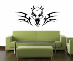 Wall Vinyl Sticker Decals Art Mural Scary Dragon Head With Horns K679