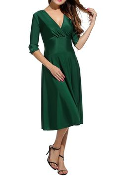 HOTOUCH Women's V Neck A Line Party Cocktail Fit Flare Swing Dress at Amazon Women's Clothing store:  https://www.amazon.com/gp/product/B01M9GS8Y5/ref=as_li_qf_sp_asin_il_tl?ie=UTF8&tag=rockaclothsto-20&camp=1789&creative=9325&linkCode=as2&creativeASIN=B01M9GS8Y5&linkId=4c3d22eb2044ce9b8aea6fc91b0cb690