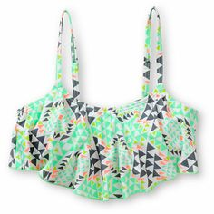 Make sure you're ready for all the summer has to offer with the style of the Malibu Road Trip White Geo Print flounce bikini top. Perfect for your adventures, this Malibu bralette style bikini has an allover geo print with flounce overlay for a layered lo