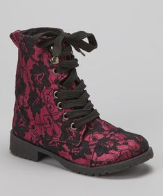 Fuchsia Lace Millie Combat Boot | Daily deals for moms, babies and kids