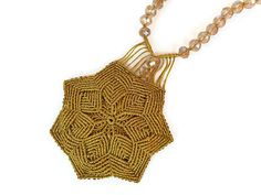 Gold flower necklace Macrame necklace Gold star necklace