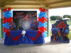 Spider-Man Party Decor | spiderman 3D banner decoration Superman Party, Superhero Party, Boy Birthday Parties, 4th Birthday, Birthday Ideas, Spiderman Balloon, Ideas Para Organizar, Shark Party, Holidays And Events