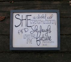 Infant Girls Room Sign | She is clothed with Strength and Dignity | Bible Verse | Proverbs 3125 | custom wall art | Prayer Sign