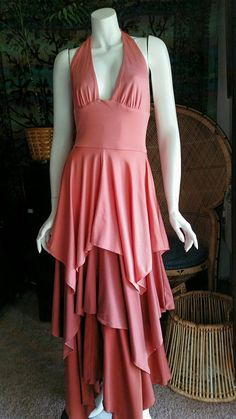 182768a959 70 s Ombre Tiered Rose   Rust Dress