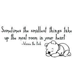 Sometimes The Smallest Things In Your Heart Take Up The Most Room In Your  Heart Winnie The Pooh Sleeping Wall Art Sticker Decals Wal.