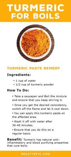 How to Use Turmeric for Boils Tumeric Paste Recipe, Turmeric Recipes, Turmeric Paste, Boil Remedies, Health Remedies, Holistic Remedies, Herbal Remedies, Turmeric Medicine, Herbal Medicine