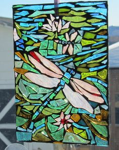 DRAGONFLY stained glass Mosaic WALL Art Panel by HildeMosaics, $30.00