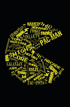 PacMan Typography Poster 12x18 by NostalgiaBomb on Etsy, $20.00