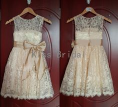 Light champagne with sash bow flower girl dress by kissbridal