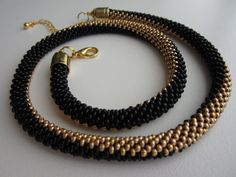 Perfect Balance - Bead Crochet Necklace, Seed Bead Necklace, Rope Snake Necklace, Gold and Black Necklace, Beaded Jewelry Crochet Beaded Necklace, Seed Bead Necklace, Seed Bead Jewelry, Beaded Jewelry, Jewelry Necklaces, Beaded Bracelets, Beaded Crochet, Seed Beads, Crochet Jewellery