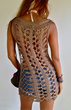 Brown Crochet Dress beach dress by PadMa88 on Etsy