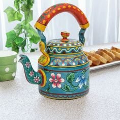 Flowery Blast Blue Tea Kettle