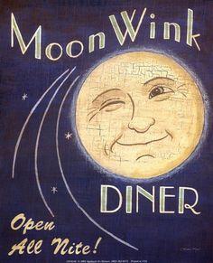 Vintage Moon Wink Diner Love this! Sun Moon Stars, Sun And Stars, Vintage Moon, Vintage Diner, Vintage Signs, Retro Diner, Vintage Restaurant, Vintage Space, Moon Dance