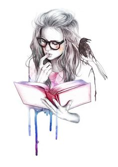 Girl reading book drawing